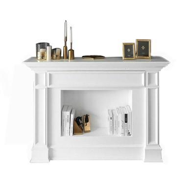 美式壁爐裝飾柜實木閃電客白色家用玄關客廳北歐簡約歐式壁爐架定制 白色