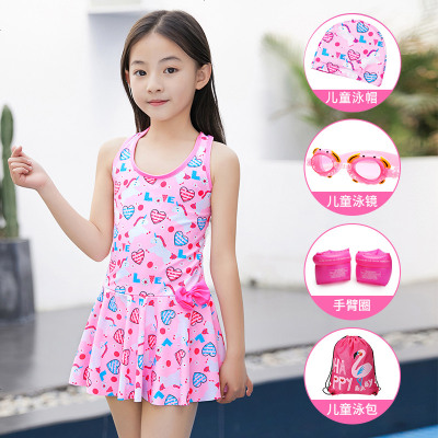兒童泳衣女童韓版連體公主裙式寶寶可愛游泳衣女孩學生泡溫泉泳裝