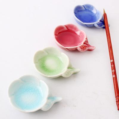 文房四宝毛笔笔洗用品 花形精美工艺陶瓷 多功能笔搁碟子