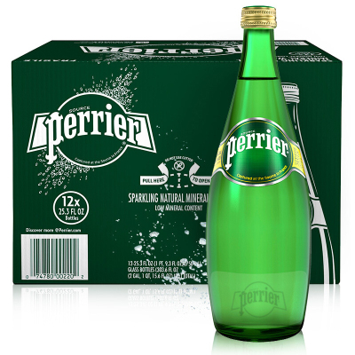 Perrier 巴黎水 原味玻璃瓶 750ML*12瓶 进口饮用水 矿泉水 气泡水 法国进口
