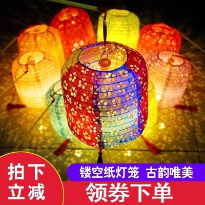 古風紙燈籠中國風折疊掛飾裝飾手工中式吊燈鏤空發光漢服拍攝道具 鏤空-白色
