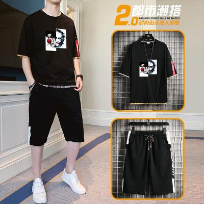 獅臣SHICHEN 夏季短袖五分褲兩件套男2020年新款時尚潮流百搭圓領T恤套裝男休閑運動套裝男裝
