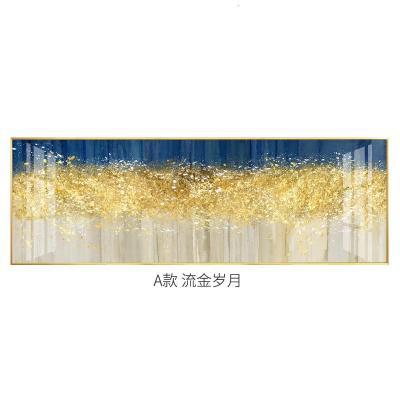 乳白色 50*150黑色拉絲鋁合金鋁合金框+晶瓷平面 新中式臥室床頭裝飾畫抽象創意個性免打孔輕奢現代臥室溫馨晶瓷畫【定制