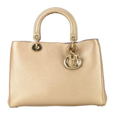 【正品二手95新】 DIOR DIORISSIMO金色牛皮內拼粉色金扣兩用包20001805