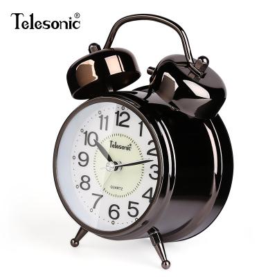 天王星(Telesonic)打铃闹钟 可爱卡通简约静音石英钟客厅挂钟小学生儿童闹钟 时尚金属卧室床头钟