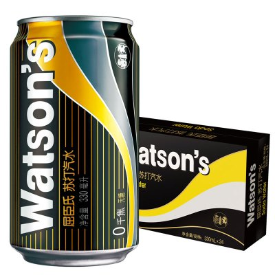 屈臣氏(Watsons)苏打汽水330ml*24听 箱装 饮用水