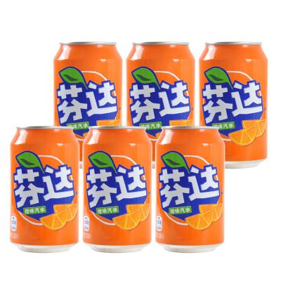 可口可乐芬达罐装330ml*6听装碳酸饮料橙味汽水