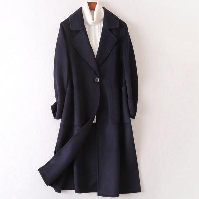 2020春季新款雙面毛呢大衣女士流行時尚羊毛呢長款子外套