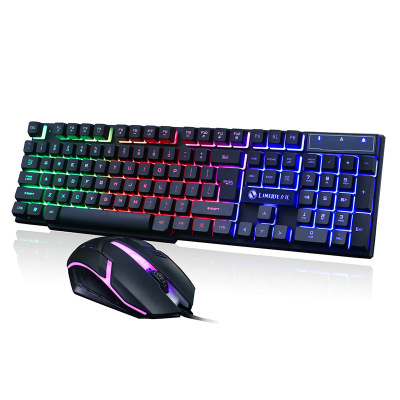 LIMEIDEGTX300 游戲鍵盤鼠標有線套裝背光USB接口鍵鼠套裝 電腦鍵盤臺式吃雞游戲機械手感鍵盤鼠標啟融