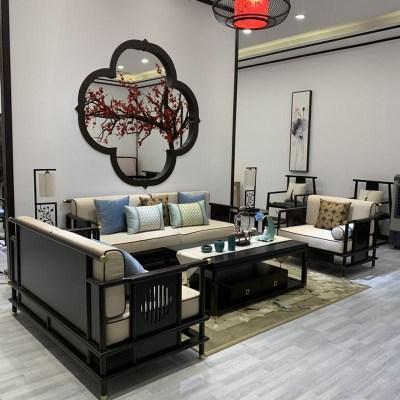 HOTBEE新中式实木沙发客厅禅意布艺沙发样板房现代中式别墅家具屋定制