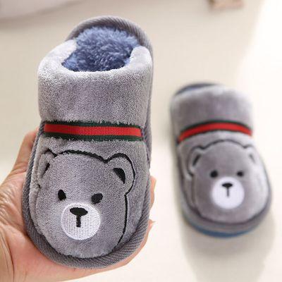 依蓝圣雪儿童棉拖鞋保暖厚底男女童宝宝棉拖鞋冬季中小童加绒加厚小孩棉鞋