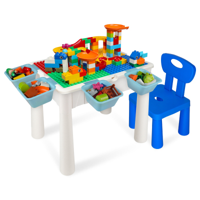 OMKHE 積木桌多功能兼容樂高積木兒童玩具拼裝玩具男孩1-3歲2幼兒園學習游戲桌子3-6歲女孩早教益智玩具桌椅兒童禮物