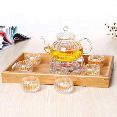 【优选】青麦 加厚耐热玻璃花茶壶套装南瓜壶玻璃煮茶壶透明过滤内胆功夫茶玻璃茶具带托盘
