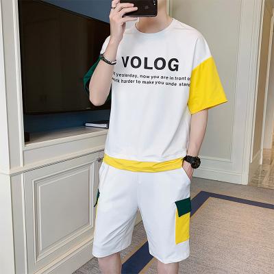 花花公子 ( PLAYBOY ICON )2020夏季套裝男韓版潮流寬松帥氣時尚休閑男士短袖T恤套裝