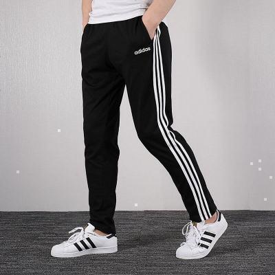 Adidas阿迪達斯運動褲男士系帶 20春新款經典三條紋跑步訓練透氣舒適寬松直筒針織休閑運動長褲DU0456