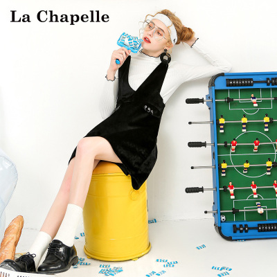拉夏贝尔puella秋冬装新韩版显瘦长袖丝绒针织两件套装裙女20011276