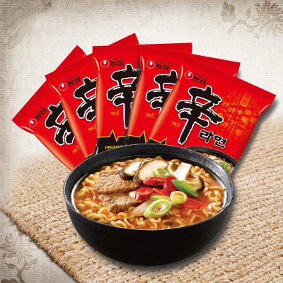 韓國進口農心辛拉面五連包120g*5方便面速食韓國泡面