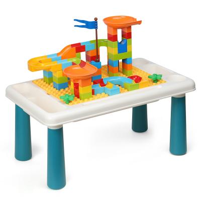 OMKHE 儿童玩具积木桌子兼容乐高积木拼装玩具男孩幼儿园学习游戏桌多功能早教益智玩具女孩大颗?;?-3-4-5-6岁