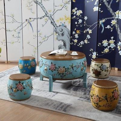 HOTBEE实木茶几复古怀旧家具圆桌鼓几套几小户型茶台彩绘牛皮鼓凳特色凳