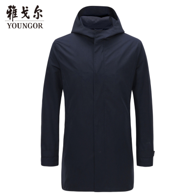 Youngor/雅戈尔 风衣男 2019年冬季新款 男士风衣 棉风衣外套 商务休闲 藏青