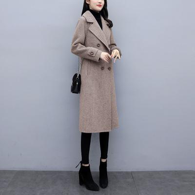班俏BANQIAO2019秋冬裝新款過膝長款呢大衣風衣外套英倫翻領雙排扣毛呢外套女裝
