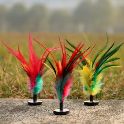 閃電客羽毛雞毛踢毽子學生兒童比賽健身花毽耐踢鍵子塑料加厚毽球