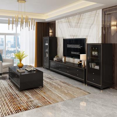 航竹坊 輕奢美式實木電視柜茶幾組合后現代簡約電視柜地柜客廳家具