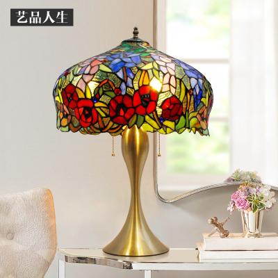 欧式玫瑰花婚嫁台灯卧室客厅吧台玻璃led美式复古床头灯饰
