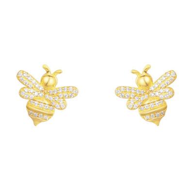 APM MONACO 女士 金黄色S925纯银镶晶钻小蜜蜂昆虫耳钉首饰 AE10256OXY