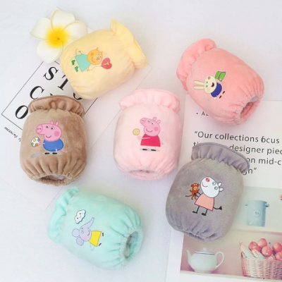 搭啵兔0-3岁 防污卡通佩奇绒布宝宝袖套男女婴幼儿护袖短保暖