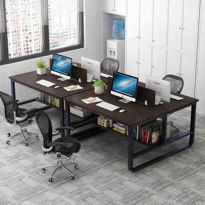 腾煜雅轩 书房家具简约现代人造板式办公桌简约现代四人位公司职员组装办公家具工作位屏风组合员工桌