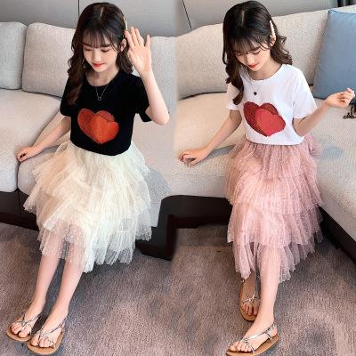 童裝一件女童夏季套裝中大童韓版2020新款兒童短袖紗裙兩件套