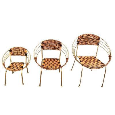 藤椅竹椅戶外塑料編織陽臺桌椅家用夏涼椅休閑家具簡約靠背椅鐵藝