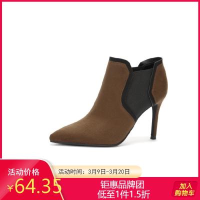 Daphne達芙妮春秋季細跟馬丁靴超高跟短靴女靴子1017605147