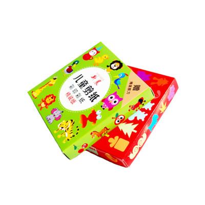 新晨儿童手工剪纸书大全礼盒装正方形彩纸幼儿园手工DIY益智玩具 96张彩盒装送儿童剪刀绿盒彩印剪纸96张