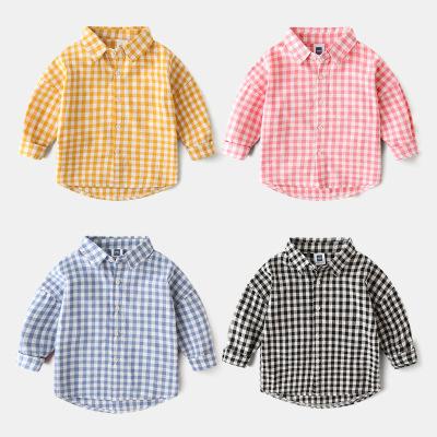 男童秋季長袖格子襯衫秋天童裝襯衣兒童寶寶小童上衣1歲3嬰兒外套