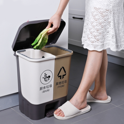 藤印象美丽雅分类垃圾桶家用客厅创意带盖按压式脚踩塑料桶20升大垃圾桶