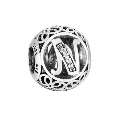 PANDORA潘多拉 复古字母N 925银串饰-791858CZ