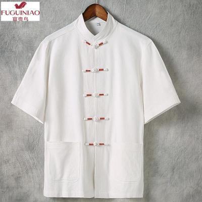 富貴鳥(FUGUINIAO)夏季亞麻T恤男短袖中國風漢服年輕款大碼唐裝男潮牌復古加肥加大