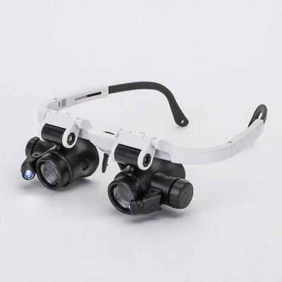 頭戴式放大眼鏡高清高倍100手表維修質量檢測擴大鏡23倍/8倍/15倍帶燈雙目鏡珠寶銀元古玩鑒定