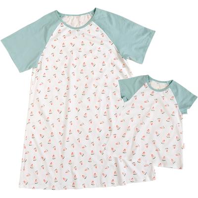 棉花堂親子家居服圓領寶寶短袖套裝嬰兒親子裝家居服純棉T恤睡衣
