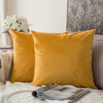 北欧抱枕靠垫沙发靠垫办公室腰靠枕床头靠背垫天鹅绒抱枕套不含芯 橙黄 30x50cm腰枕套+枕芯(护腰)