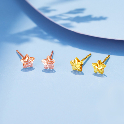 【2020新款】老廟黃金 18K金耳飾Au750星星耳釘耳飾
