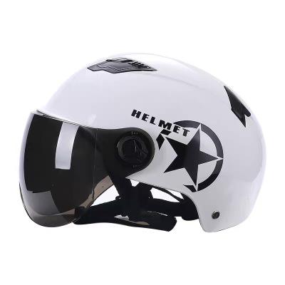 電動電瓶車摩托車頭盔安全帽男女士通用清涼夏季夏天四季半盔兩用 哈雷白色(茶色鏡面)防曬+防紫外線+透氣 均碼