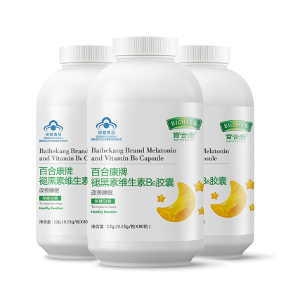 百合康牌褪黑素維生素B6膠囊80粒X3瓶改善睡眠 改善成人中老年人睡眠保健食品非退黑素片