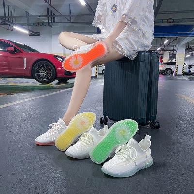 策恩公牛變色龍透氣飛織女鞋2020夏季新款韓版百搭運動鞋女ins糖果色學生