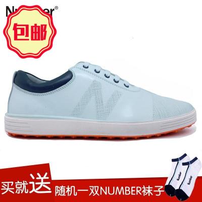 運動戶外高爾夫球鞋 Number 固定釘休閑鞋 高爾夫男鞋新款 白色