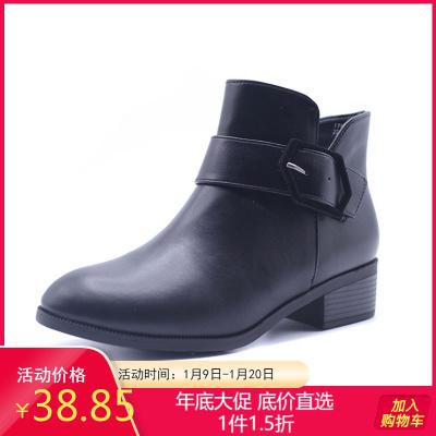达芙妮旗下鞋柜杜拉拉品牌冬英伦风粗跟时装优雅侧拉链百搭女短靴