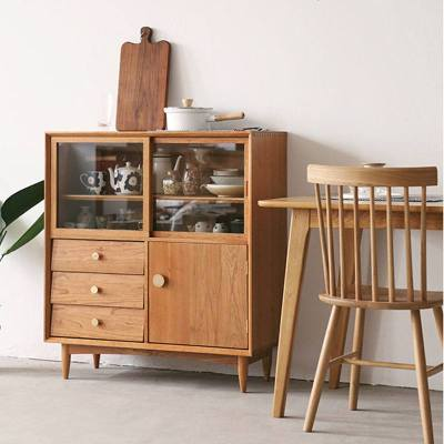梦引 实木原木玻璃移餐边柜北欧樱桃木五斗柜餐厅储物柜碗柜茶水柜