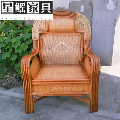 藤椅单人靠背椅护腰休闲老人家用编织沙发椅大班椅太师椅手工真藤